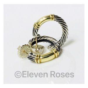 David Yurman Sterling 14k Metro Hoop Earrings
